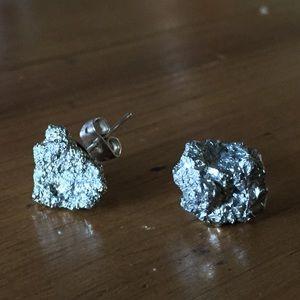 Genuine Pyrite Stud Statement Earrings